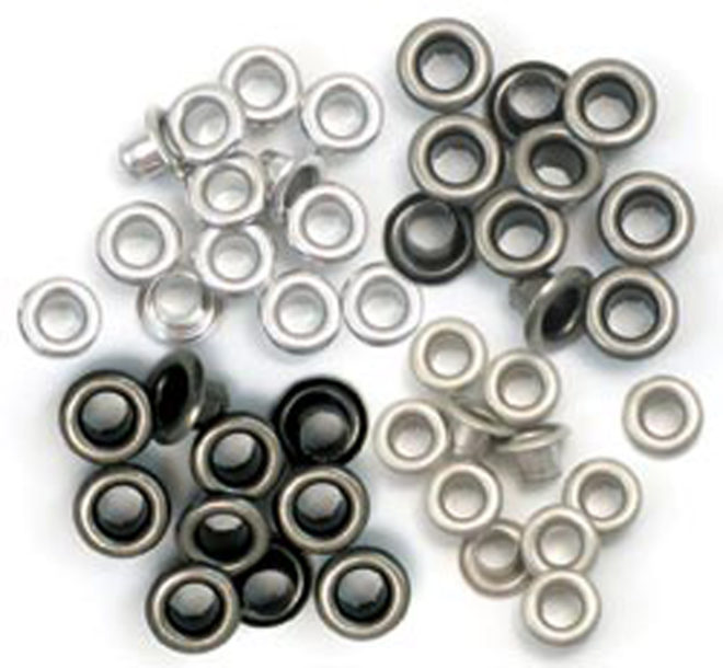 Eyelets Metalizados en tonos plata de we r memory keepers