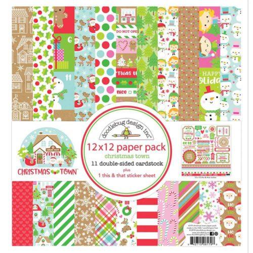 Colección de papeles para scrapbooking 30x30 Christmas Town de Doodlebug Design