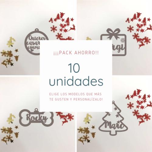 Pack 10 Bolas de navidad de madera personalizada
