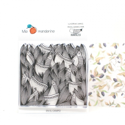 Sello acrílico En el campo de Mía Mandarina y Drawingfish