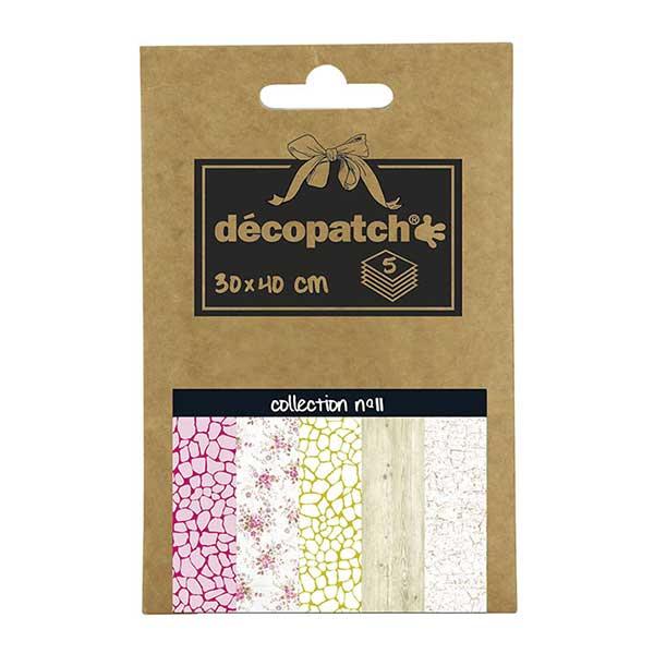 Papeles Décopatch Pocket 30x40 cm 5 hojas - Colección n°11