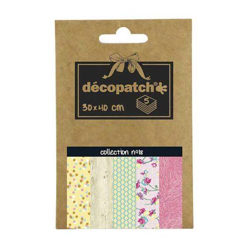 Papeles Décopatch Pocket 30x40 cm 5 hojas - Colección n°18