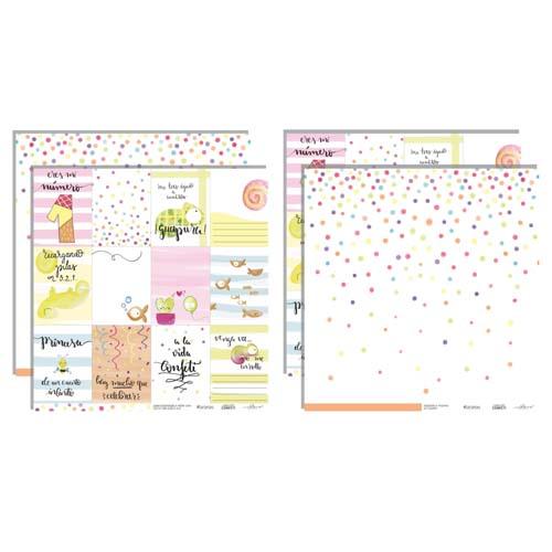 Kit 10 papeles para scrapbooking Colección Confetti de Iriri estudio