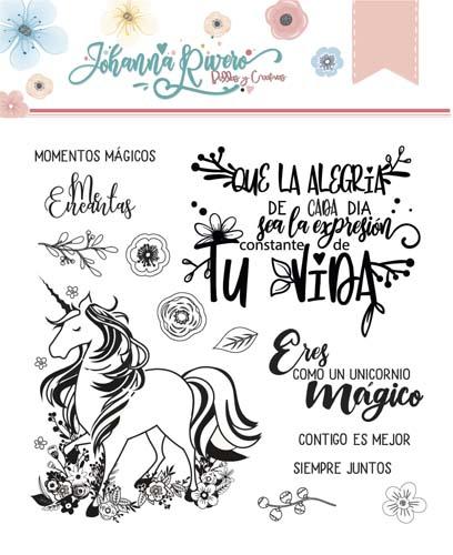 Sello Acrílico Unicornio Johanna Rivero de Bellas y Creativas Scrapbooking